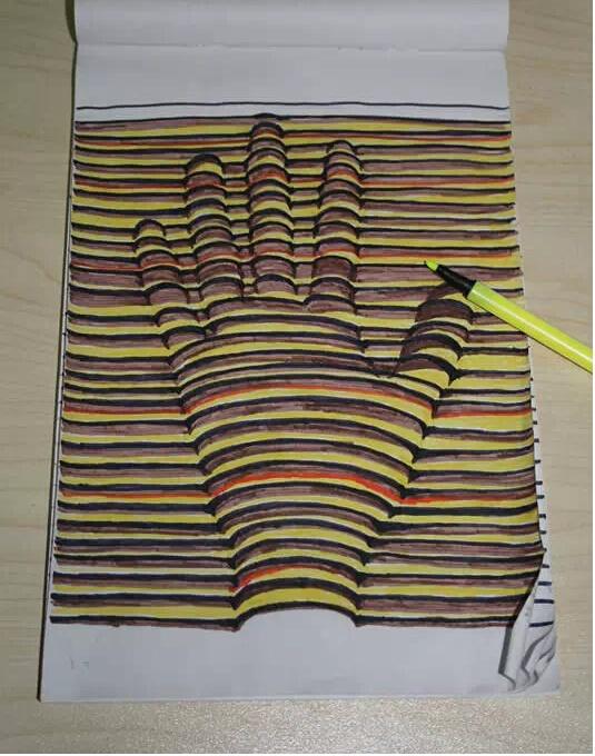 用笔画3d立体画_令人震惊的3d立体画,附教程