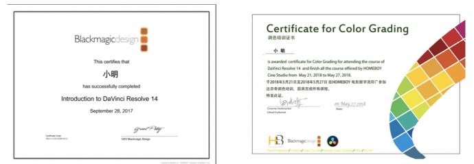 参加HOMEBOY调色培训,获达芬奇官方认证