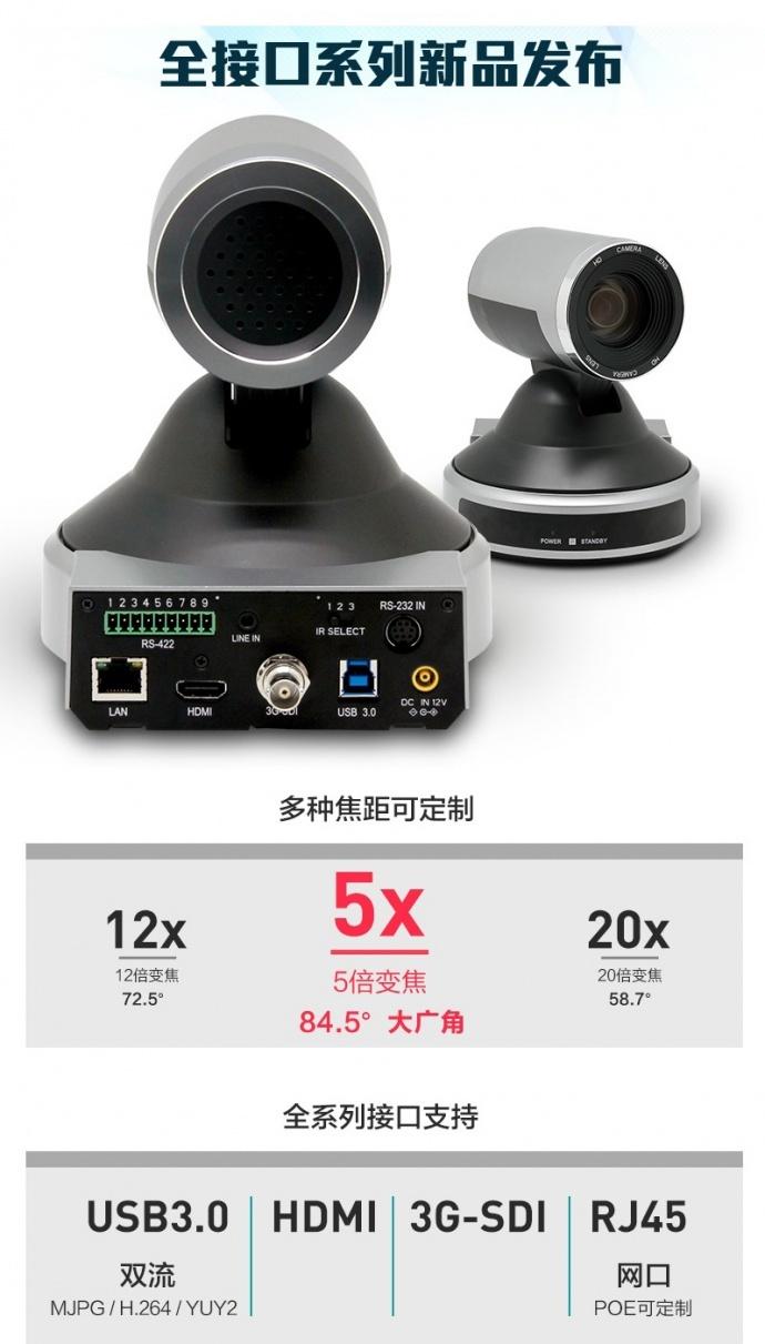 看LED屏幕防行频闪烁功能全高高清接口会议摄像机特殊应用