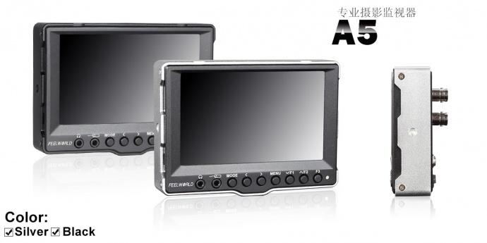 富威德 A5 迷你5寸广播级导演高清SDI监视器 单反摄影摄像显示器 铝壳设计 高清3G-SDI、HDMI摄影监视器带专业峰值辅助对焦
