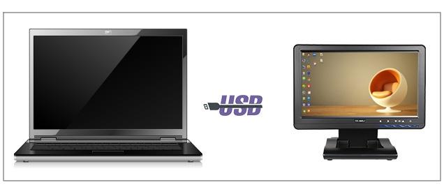 富威德DP101T 10.1寸 IPS 1024X600 USB液晶触摸显示器 只需要一条USB数据线通电开机 工业拓展USB触摸显示屏 扩展显示、数码相框、新闻阅读USB液晶显示器