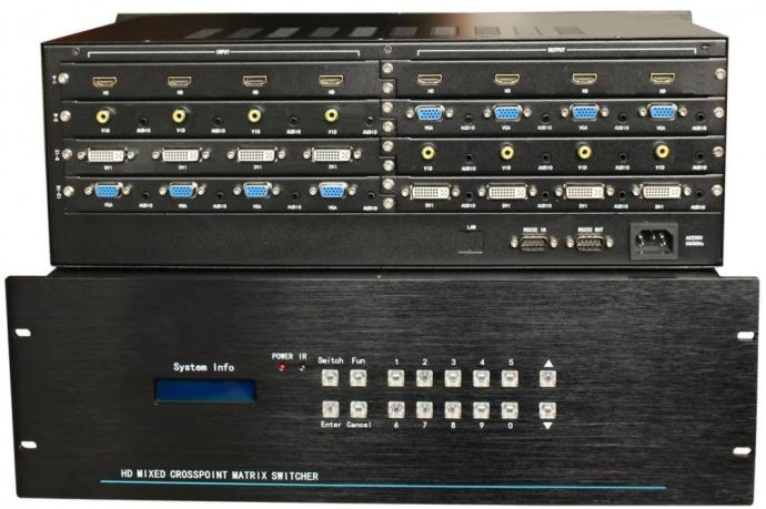 16路VGA16路AV音视频同步会议多媒体混合矩阵在工程上的安装