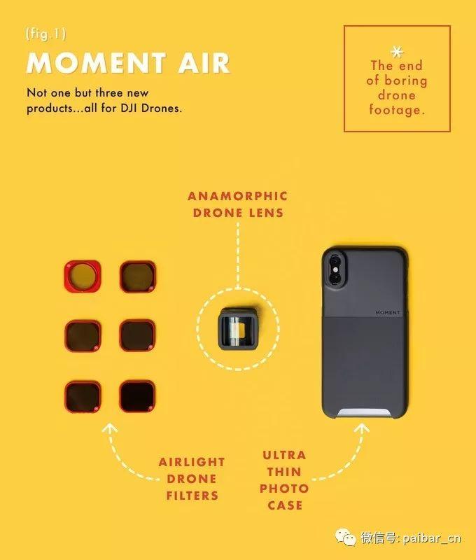 Moment Air:适用于DJI无人机的变形宽银幕镜头和套装滤镜